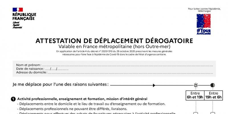 COVID-19 : Attestations de déplacement